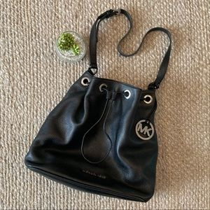 Michael Kors Black Pebbled Leather Drawstring Bag